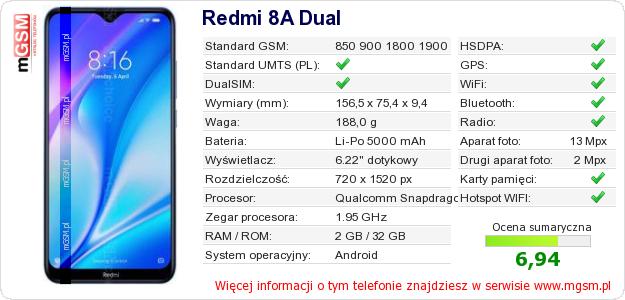 Dane telefonu Redmi 8A Dual