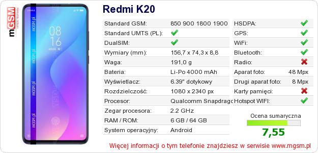 Dane telefonu Redmi K20