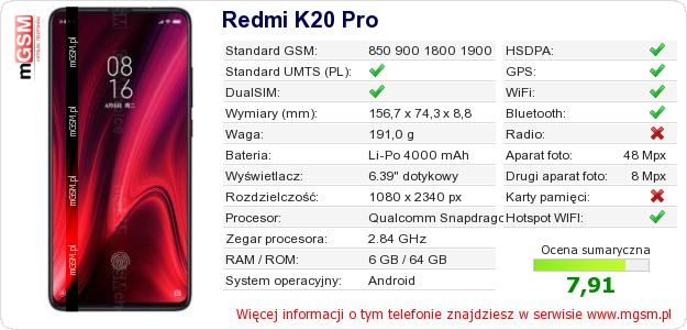 Dane telefonu Redmi K20 Pro