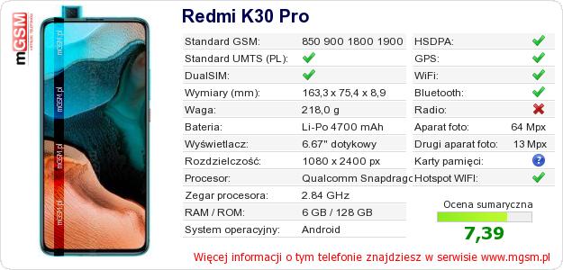 Dane telefonu Redmi K30 Pro