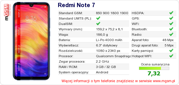 Dane telefonu Redmi Note 7