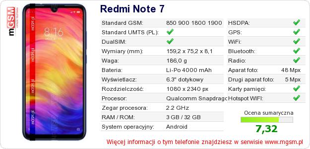Dane telefonu Redmi Note 7
