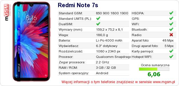 Dane telefonu Redmi Note 7s