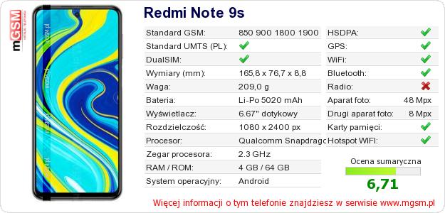 Dane telefonu Redmi Note 9s