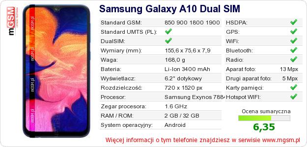 Dane telefonu Samsung Galaxy A10 Dual SIM