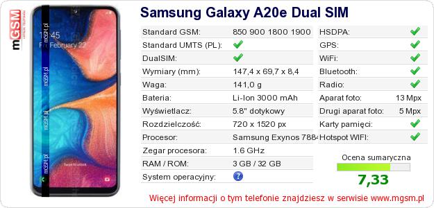 Dane telefonu Samsung Galaxy A20e Dual SIM