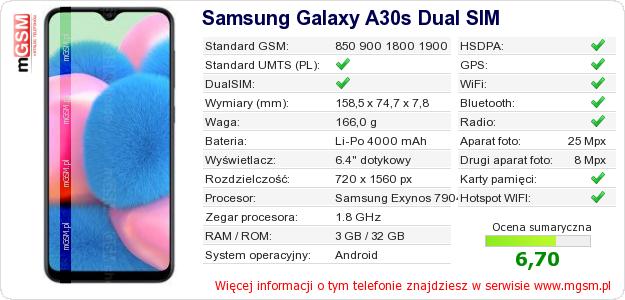 Dane telefonu Samsung Galaxy A30s Dual SIM