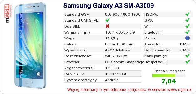 Dane telefonu Samsung Galaxy A3 SM-A3009