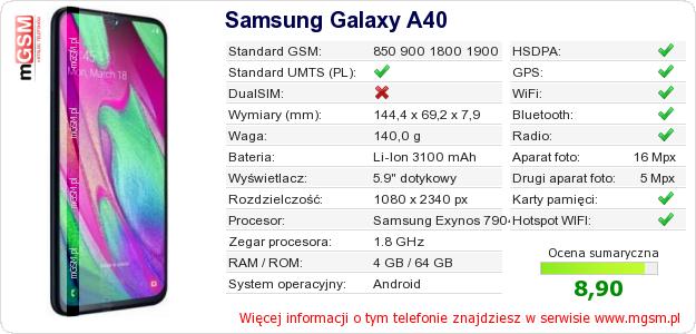 Dane telefonu Samsung Galaxy A40