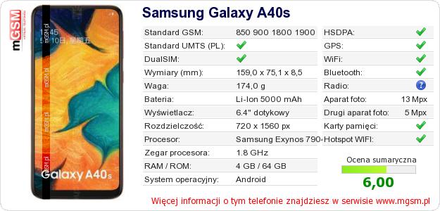 Dane telefonu Samsung Galaxy A40s