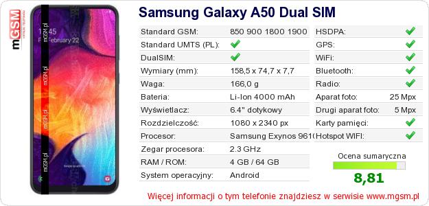 Dane telefonu Samsung Galaxy A50 Dual SIM