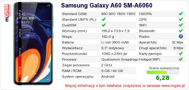 Dane telefonu Samsung Galaxy A60 SM-A6060