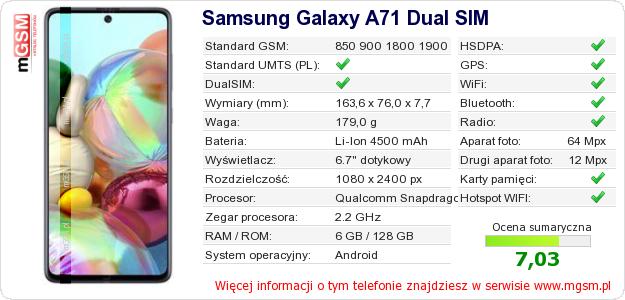 Dane telefonu Samsung Galaxy A71 Dual SIM