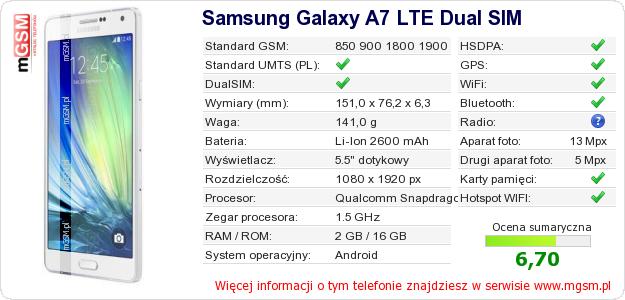 Dane telefonu Samsung Galaxy A7 LTE Dual SIM