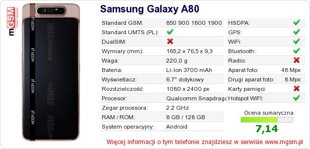Dane telefonu Samsung Galaxy A80