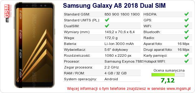 Dane telefonu Samsung Galaxy A8 2018 Dual SIM