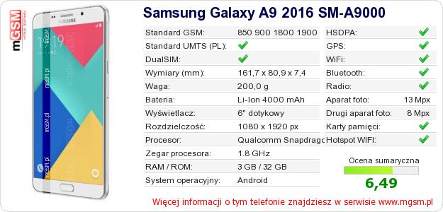 Dane telefonu Samsung Galaxy A9 2016 SM-A9000