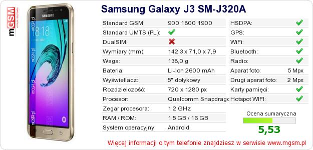 Dane telefonu Samsung Galaxy J3 SM-J320A