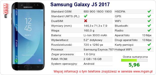 Dane telefonu Samsung Galaxy J5 2017