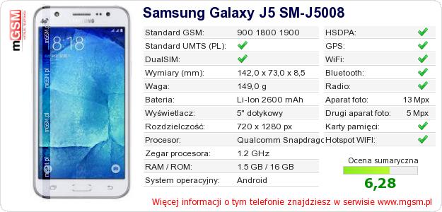 Dane telefonu Samsung Galaxy J5 SM-J5008