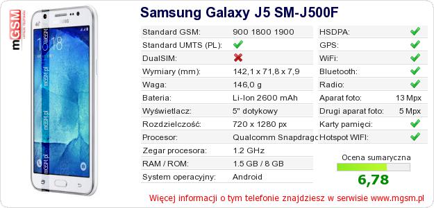 Dane telefonu Samsung Galaxy J5 SM-J500F