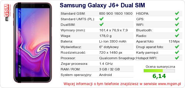 Dane telefonu Samsung Galaxy J6+ Dual SIM