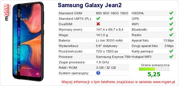 Dane telefonu Samsung Galaxy Jean2