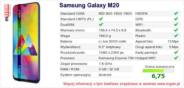 Dane telefonu Samsung Galaxy M20