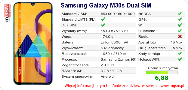 Dane telefonu Samsung Galaxy M30s Dual SIM