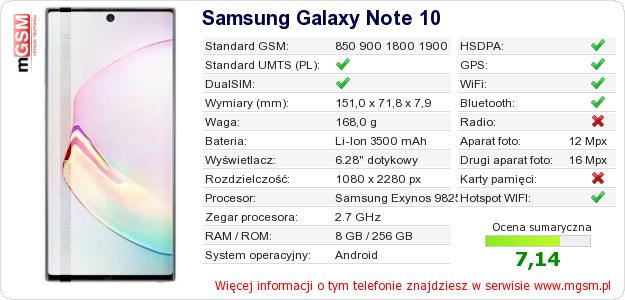 Dane telefonu Samsung Galaxy Note 10