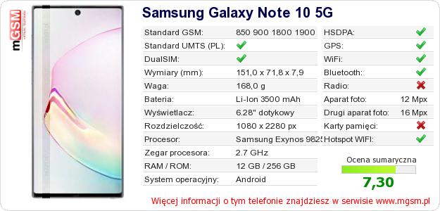 Dane telefonu Samsung Galaxy Note 10 5G
