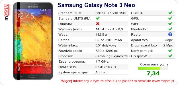 Dane telefonu Samsung Galaxy Note 3 Neo