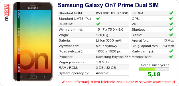 Dane telefonu Samsung Galaxy On7 Prime Dual SIM