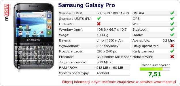 Dane telefonu Samsung Galaxy Pro