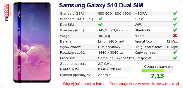 Dane telefonu Samsung Galaxy S10 Dual SIM