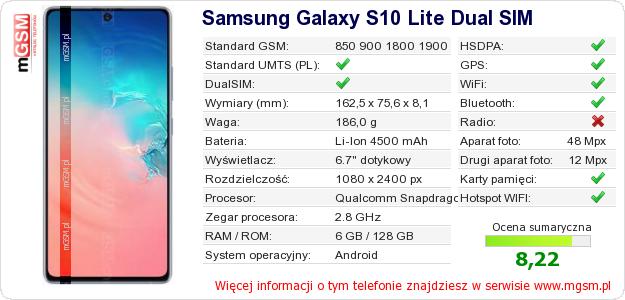 Dane telefonu Samsung Galaxy S10 Lite Dual SIM