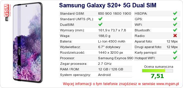 Dane telefonu Samsung Galaxy S20+ 5G Dual SIM