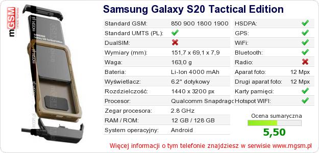 Dane telefonu Samsung Galaxy S20 Tactical Edition