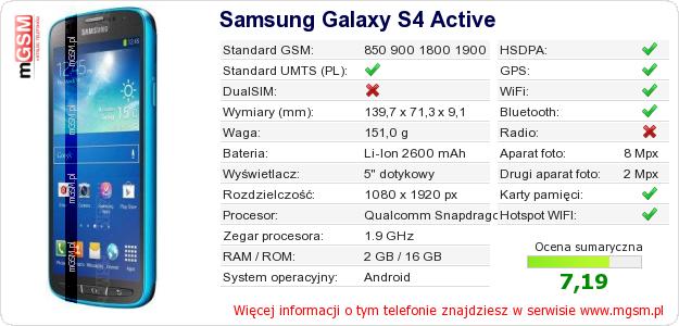 Dane telefonu Samsung Galaxy S4 Active