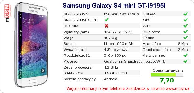 Dane telefonu Samsung Galaxy S4 mini GT-I9195I