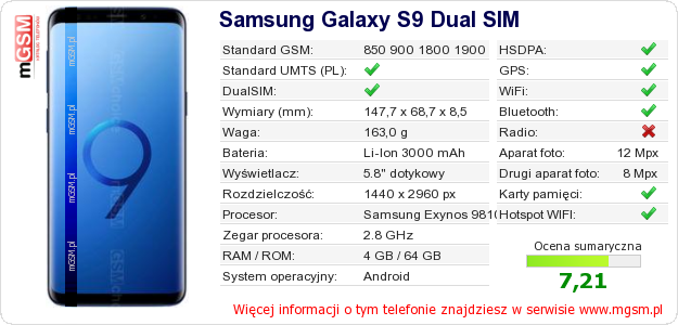 Dane telefonu Samsung Galaxy S9 Dual SIM