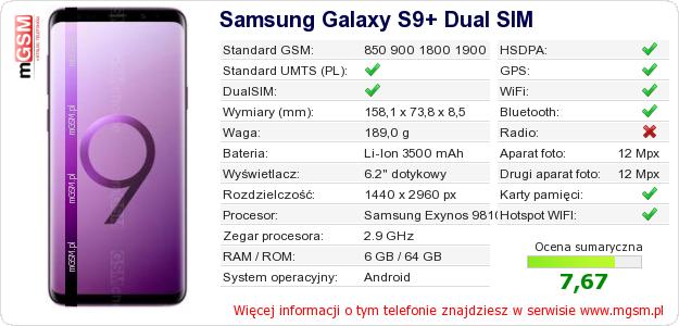 Dane telefonu Samsung Galaxy S9+ Dual SIM