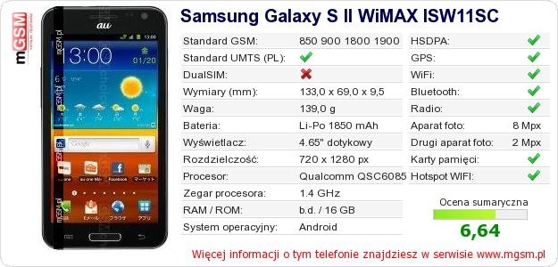 Dane telefonu Samsung Galaxy S II WiMAX ISW11SC