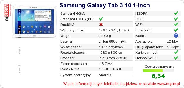 Dane telefonu Samsung Galaxy Tab 3 10.1-inch