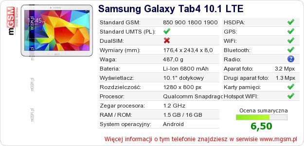 Dane telefonu Samsung Galaxy Tab4 10.1 LTE