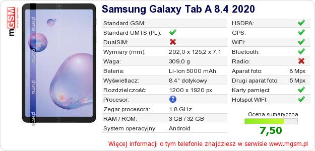 Dane telefonu Samsung Galaxy Tab A 8.4 2020