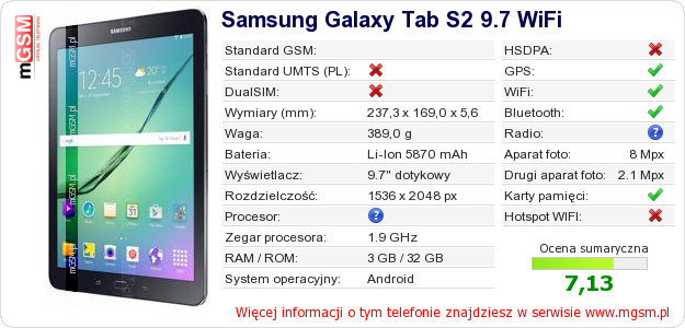 Dane telefonu Samsung Galaxy Tab S2 9.7 WiFi