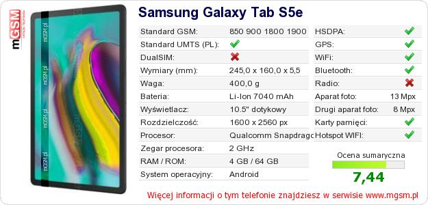 Dane telefonu Samsung Galaxy Tab S5e