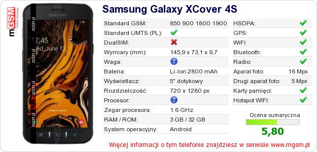 Dane telefonu Samsung Galaxy XCover 4S
