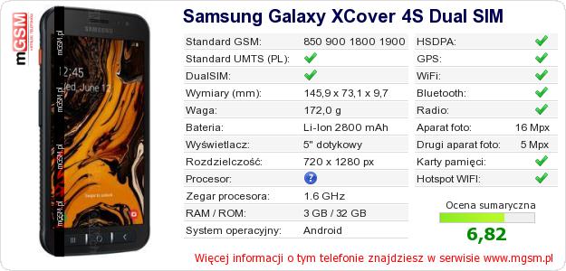 Dane telefonu Samsung Galaxy XCover 4S Dual SIM
